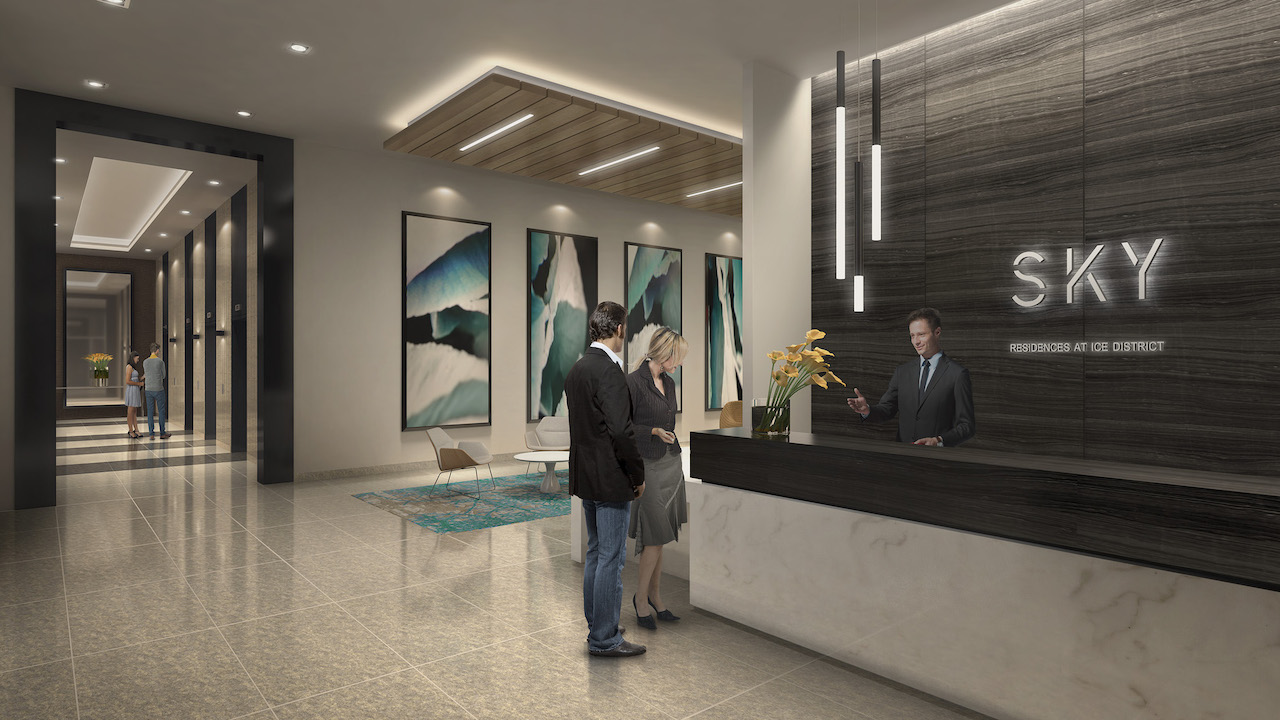 Rendering of SKY Residences at ICE District Lobby.