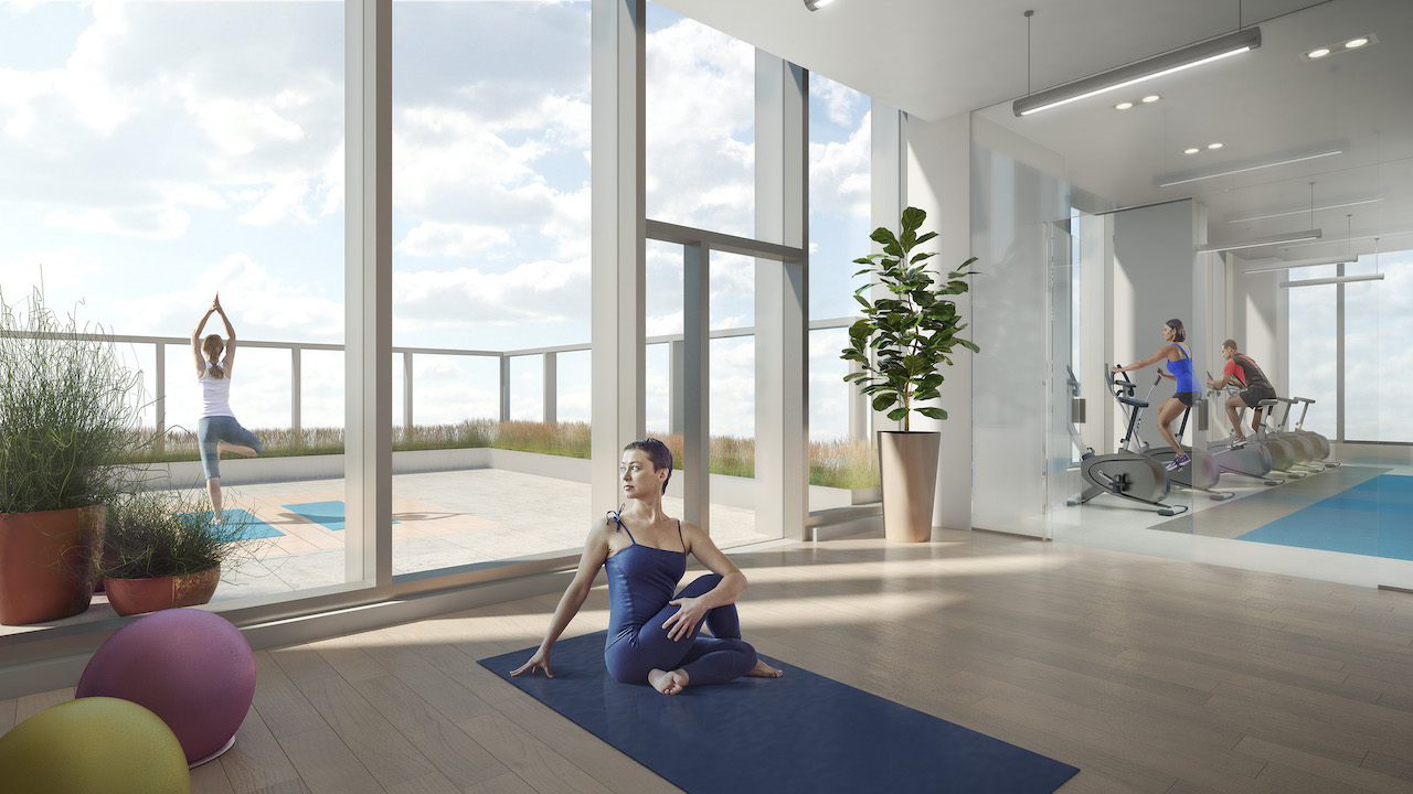 Rendering of SKY Residences at ICE District yoga studio.