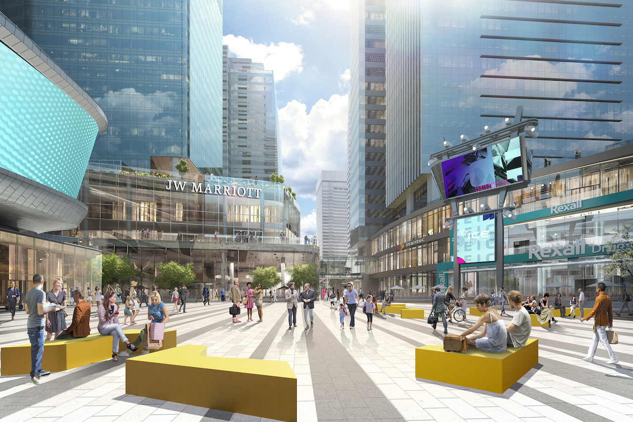 Rendering of SKY Residence ICE District plaza during the day.