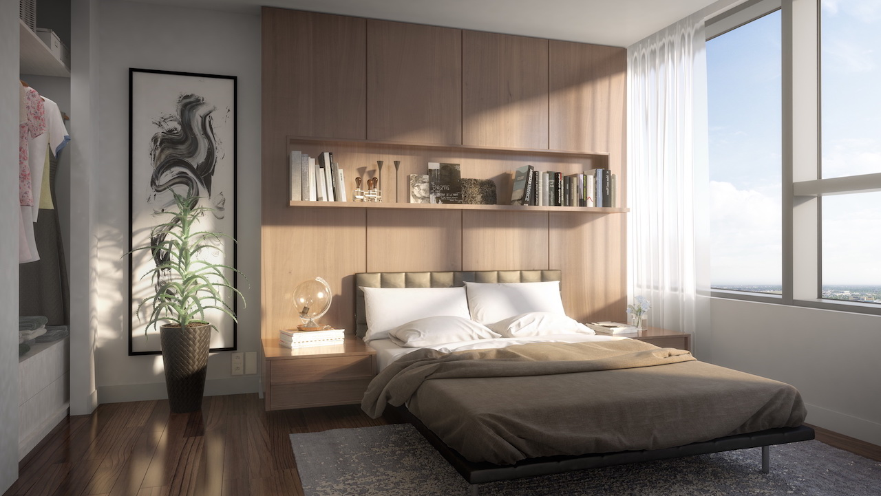 Rendering of SKY Residences unit interior bedroom.
