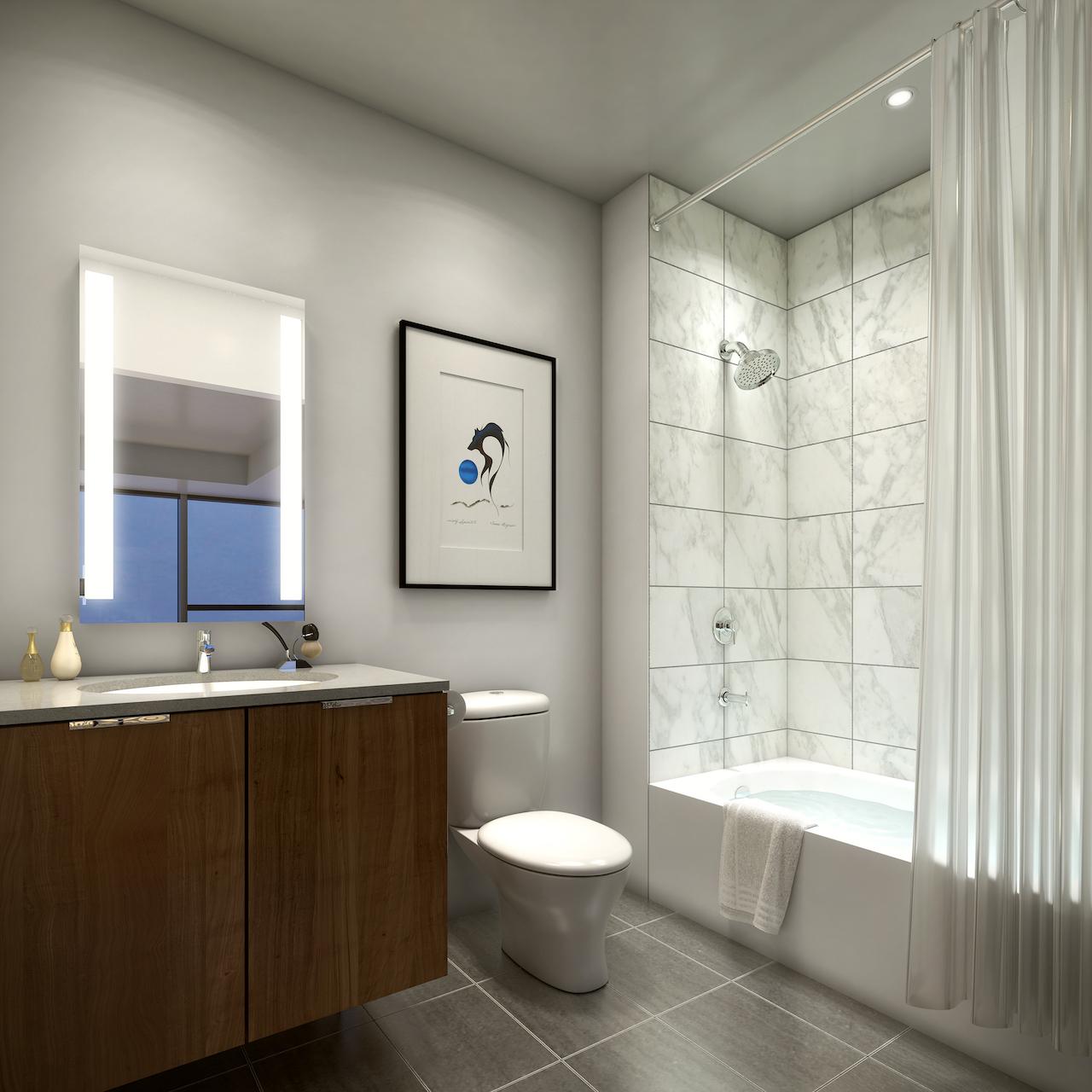 Rendering of SKY Residences unit interior ensuite bathroom.