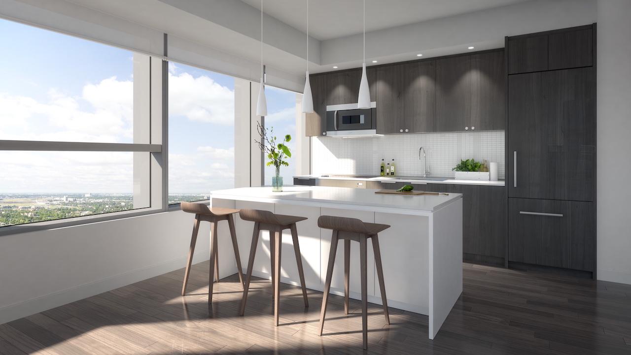 Rendering of SKY Residences unit interior kitchen.
