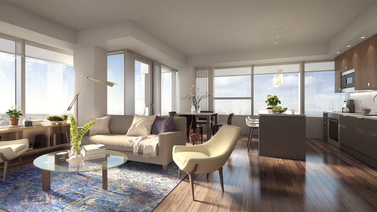 Rendering of SKY Residences unit interior living and dining room.