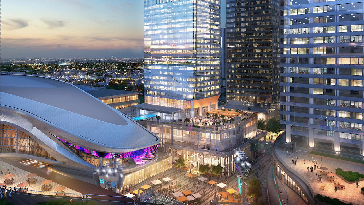 Rendering of SKY Residences ICE District at night.