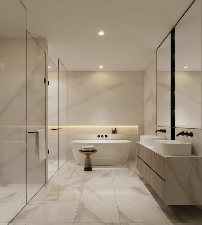 Rendering of The Forest Hill Private Residences bathroom.