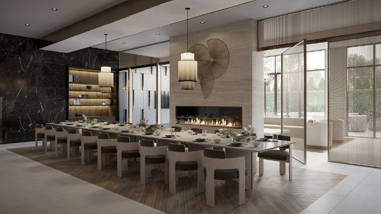 Rendering of The Forest Hill Private Residences dining and lounge area.