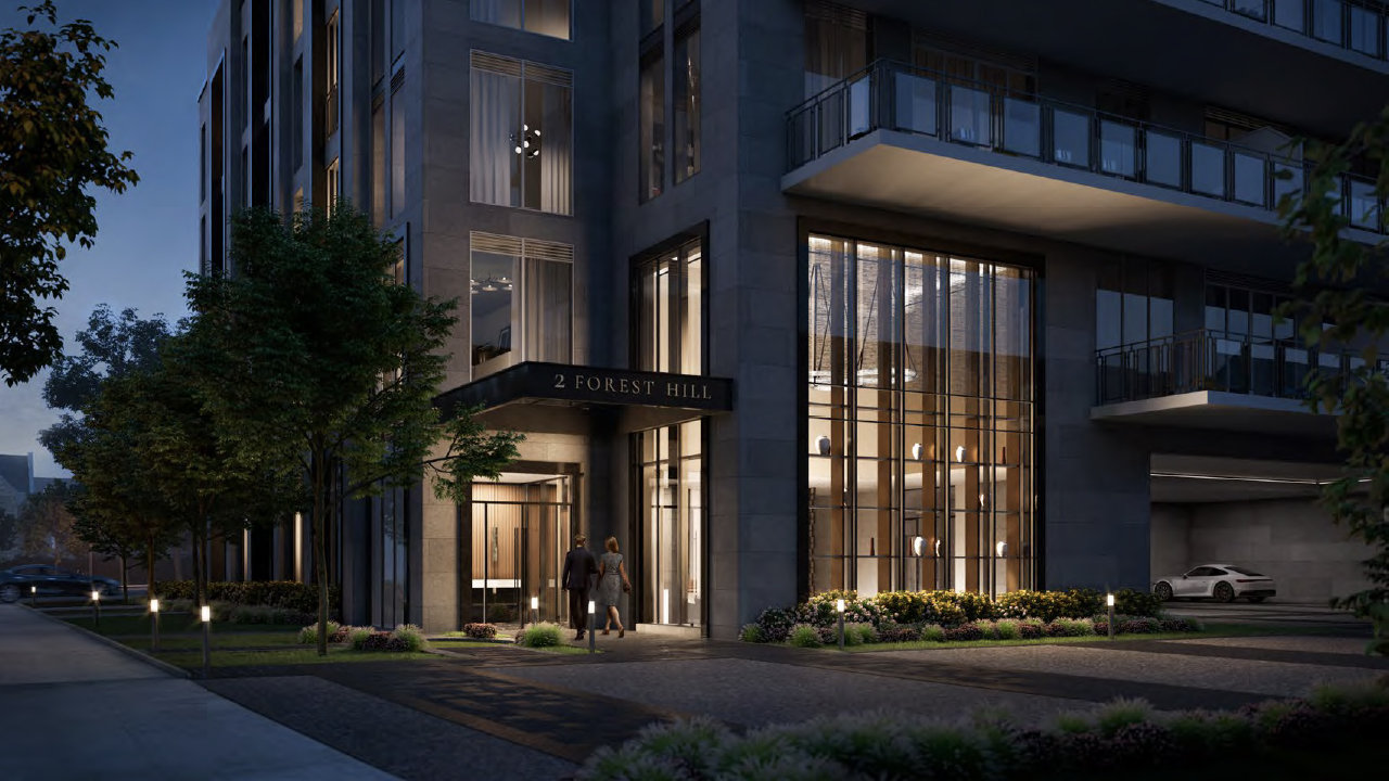 Rendering of The Forest Hill Private Residences entrance at night.