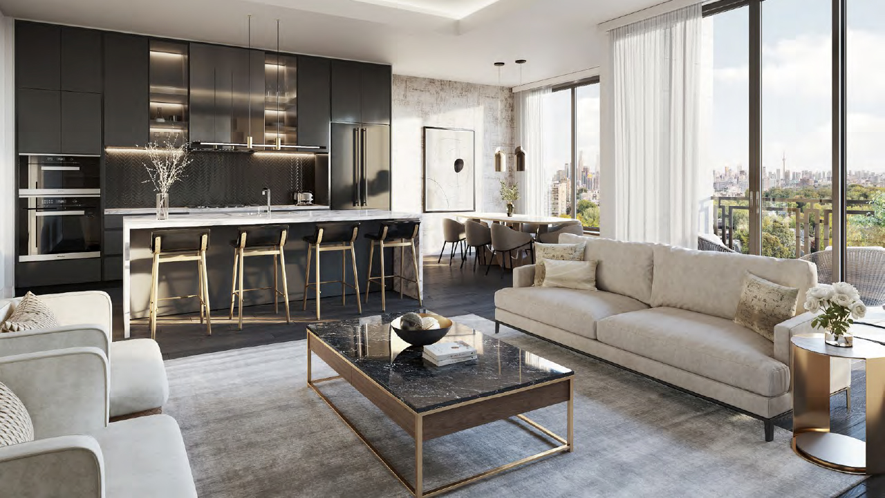 Rendering of The Forest Hill Private Residences open-concept living room, kitchen and dining nook.