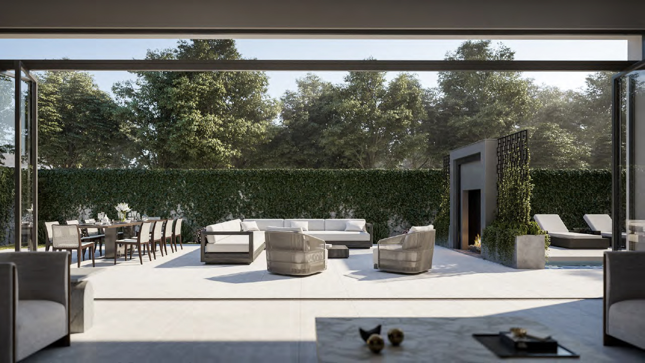 Rendering of The Forest Hill Private Residences outdoor lounge.