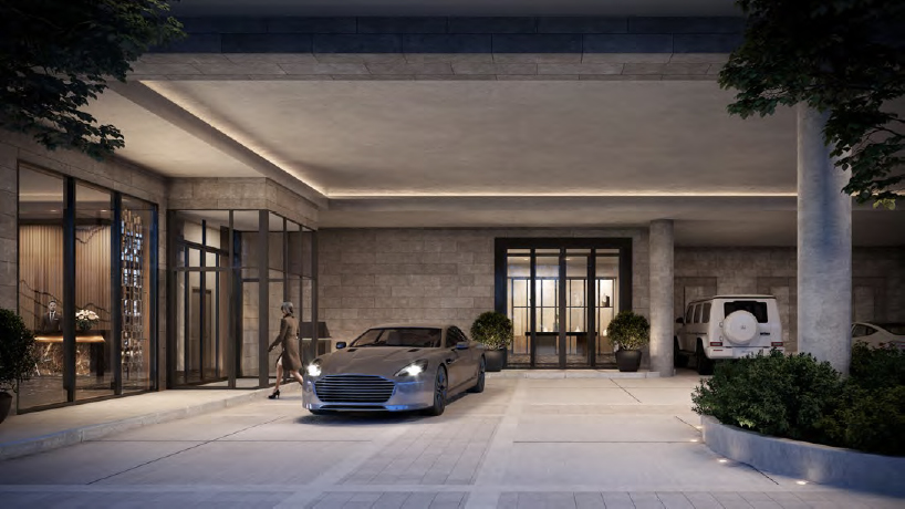 Rendering of The Forest Hill Private Residences porte cochere.