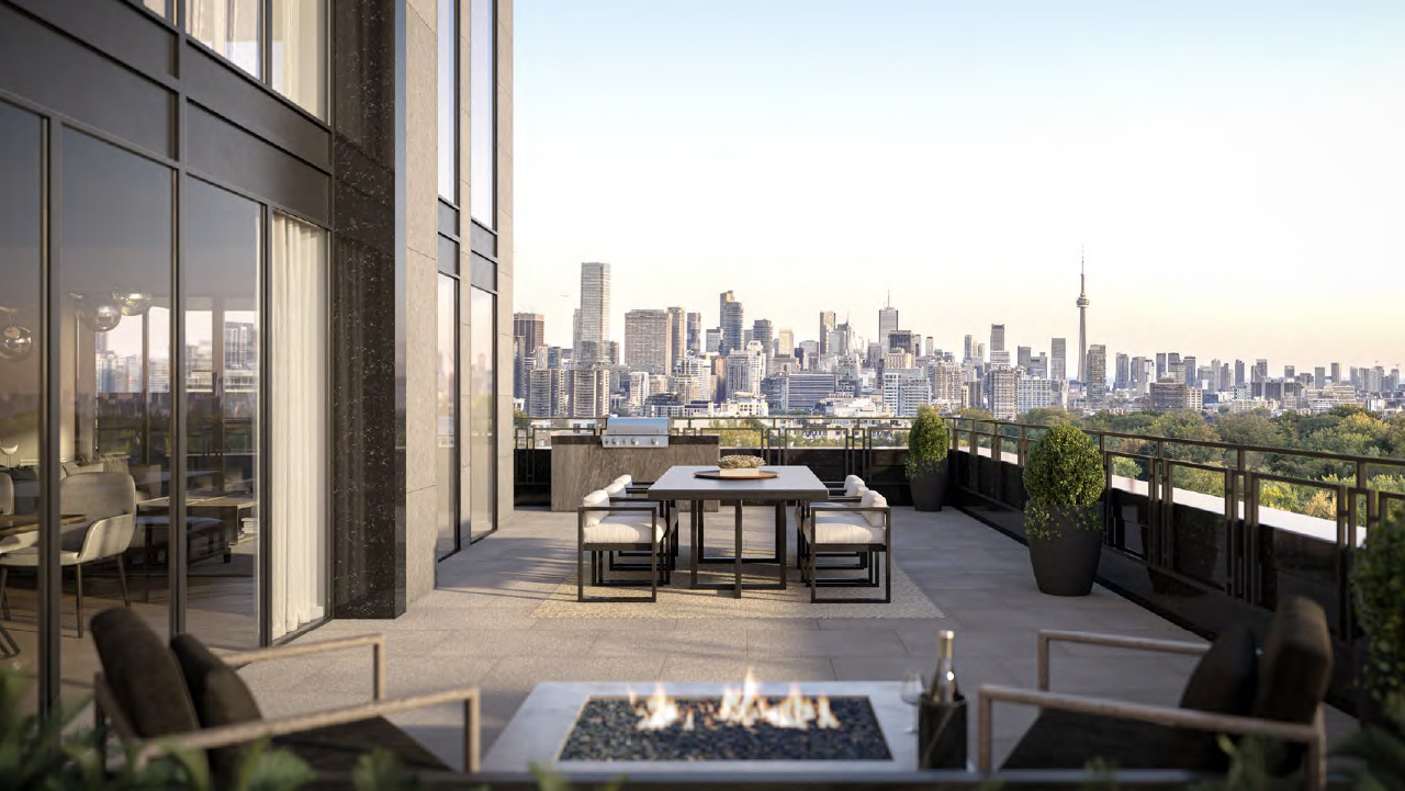 Rendering of The Forest Hill Private Residences terrace.