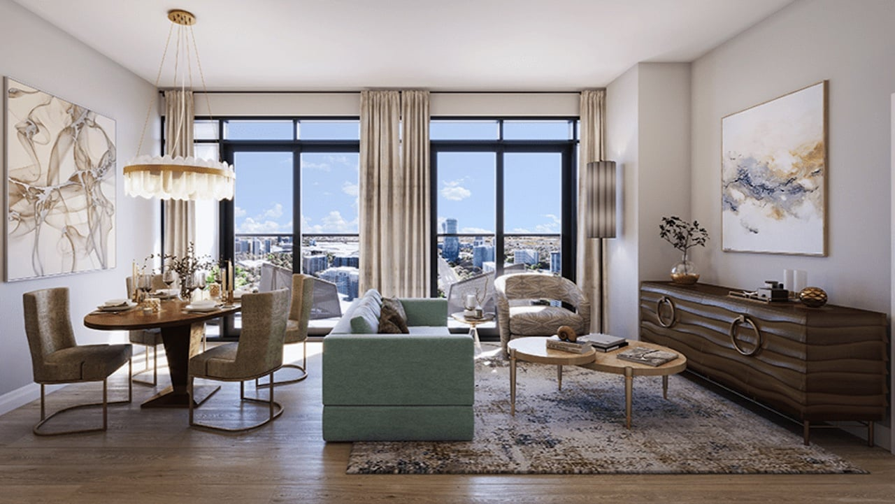 Rendering of ORO Condos penthouse tiffany stone living room