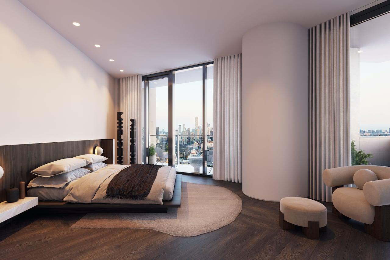 Rendering of One Delisle Penthouse interior bedroom