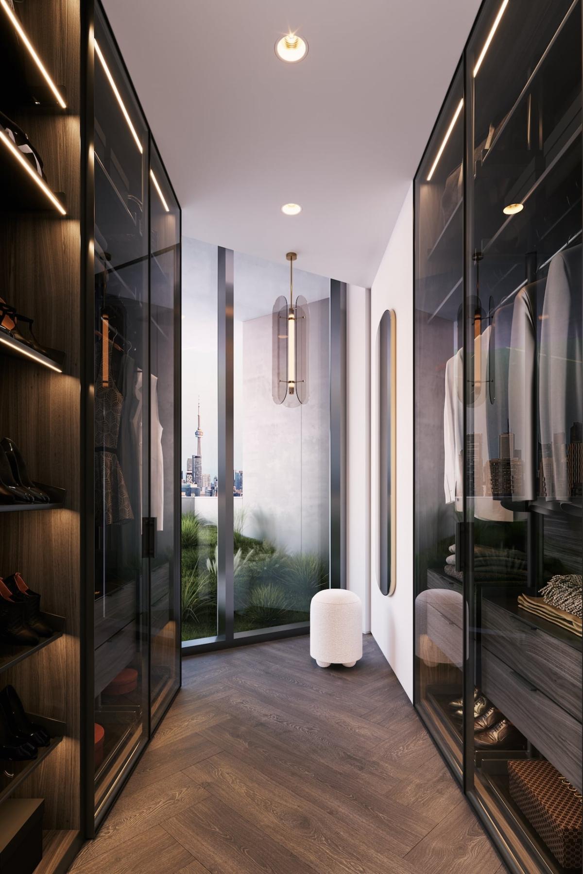 Rendering of One Delisle Penthouse interior walk-in closet