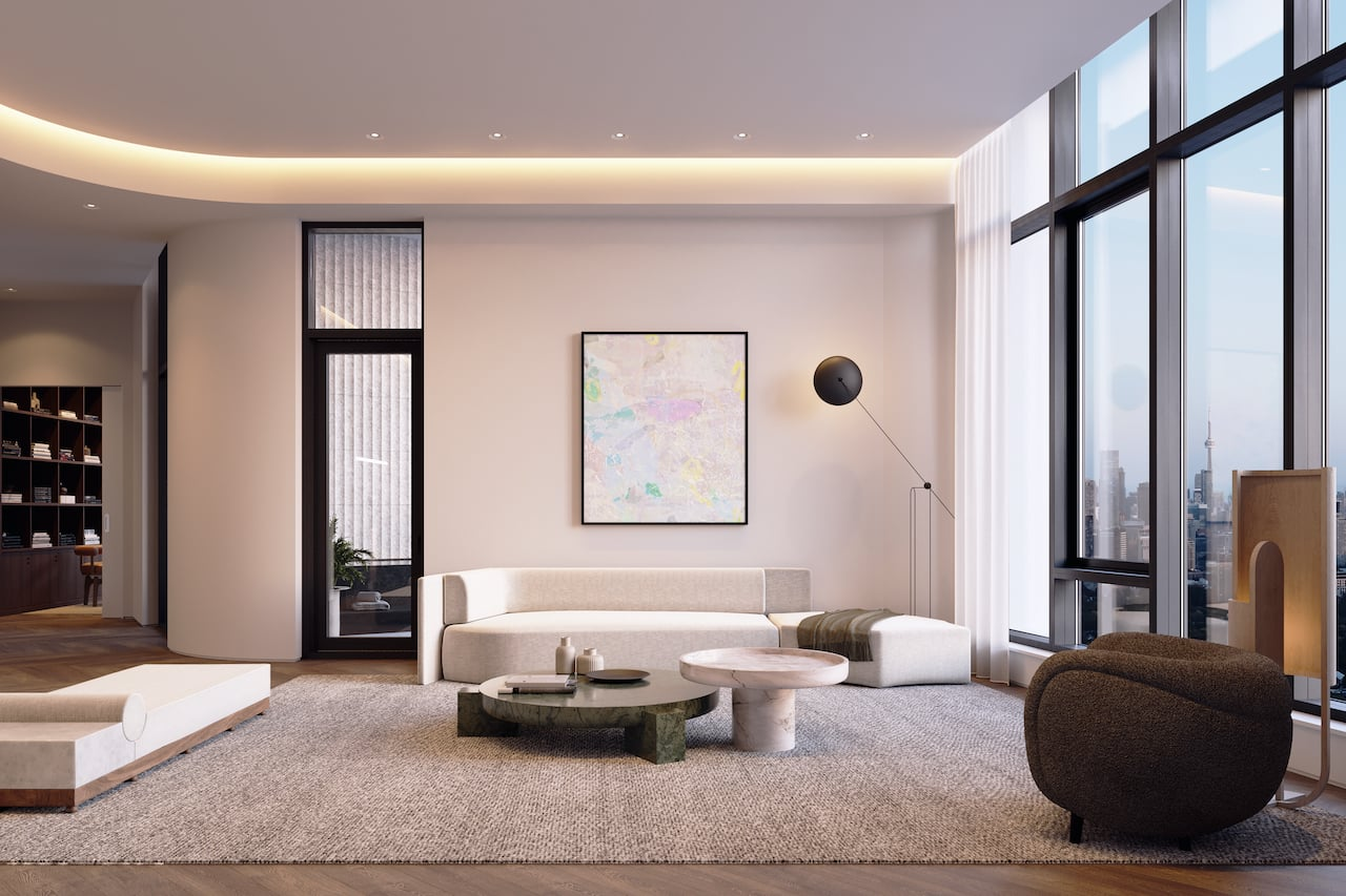 Rendering of One Delisle Penthouse interior great room