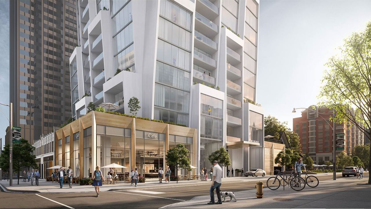 Exterior rendering of One Delisle Condos with lower street view.