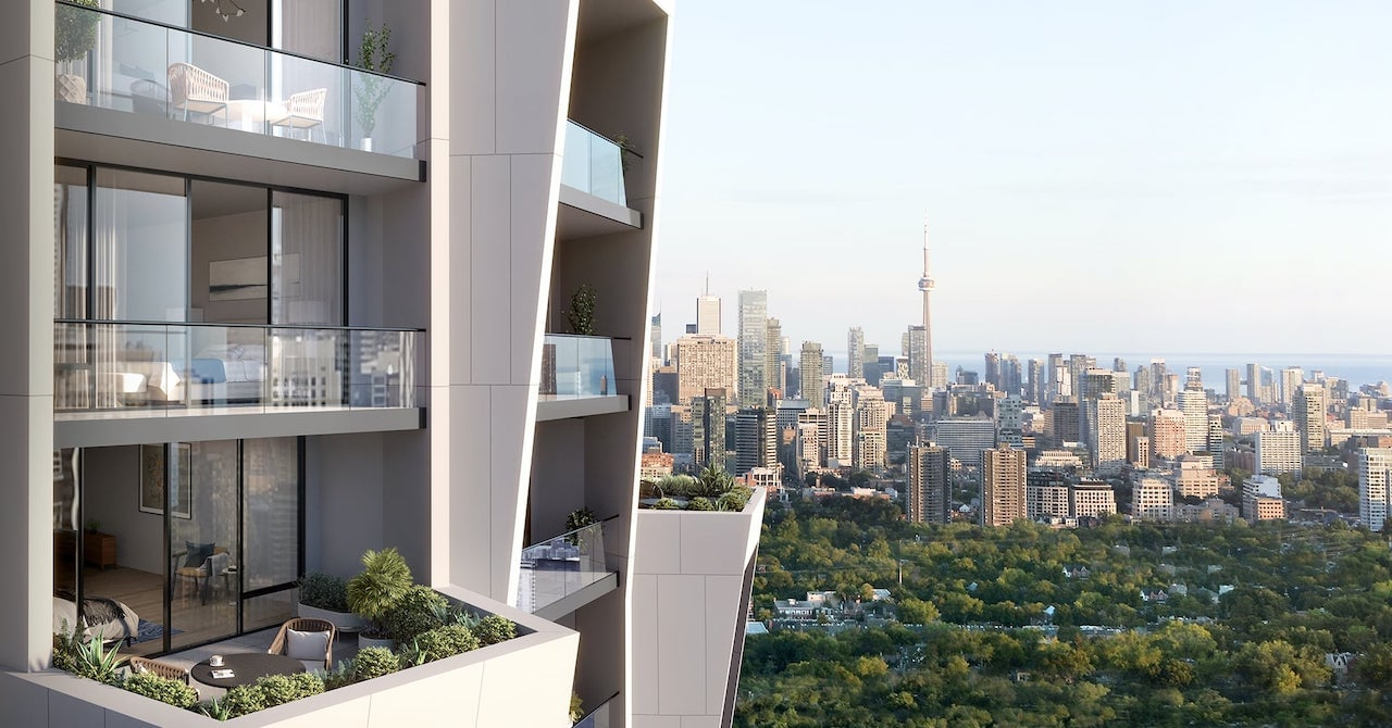 Rendering of One Delisle Condos balcony views of Toronto