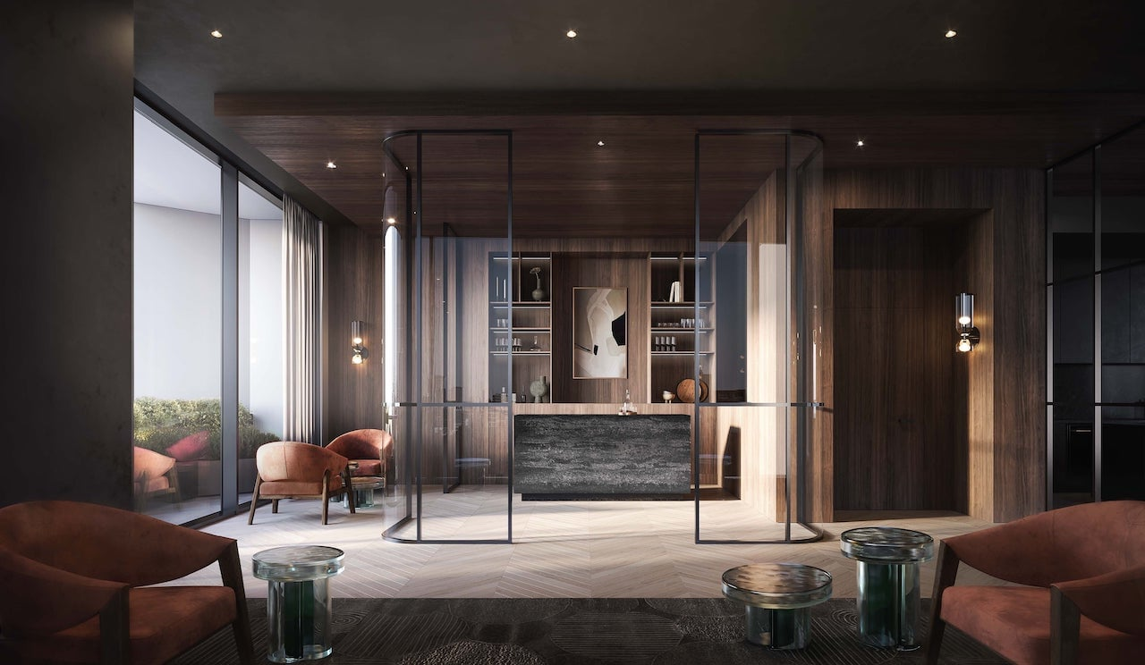 Rendering of One Delisle Condos Wine and Cocktail lounge