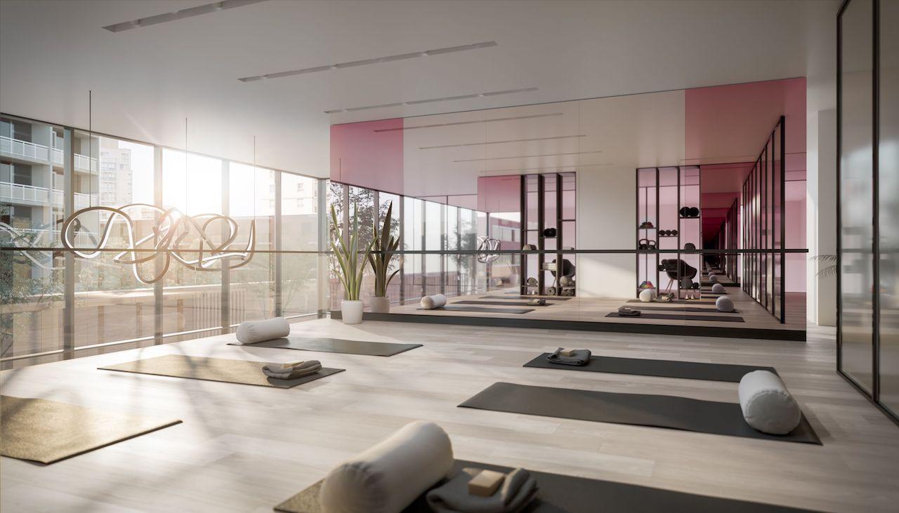 Rendering of Untitled Condos yoga studio.