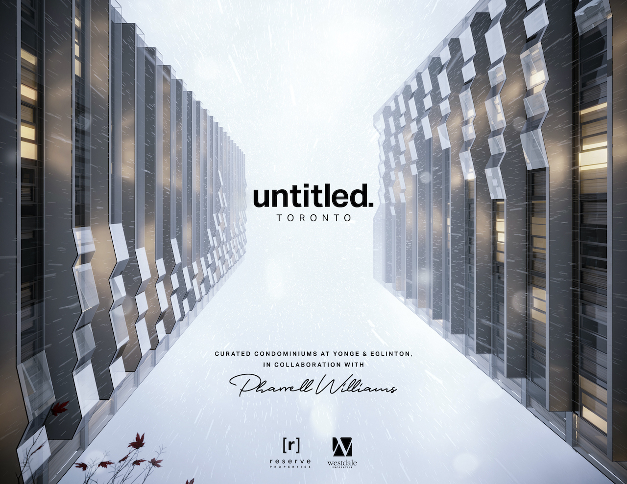 Exterior rendering of Untitled Toronto Condos with logo and Pharrell Williams signature.