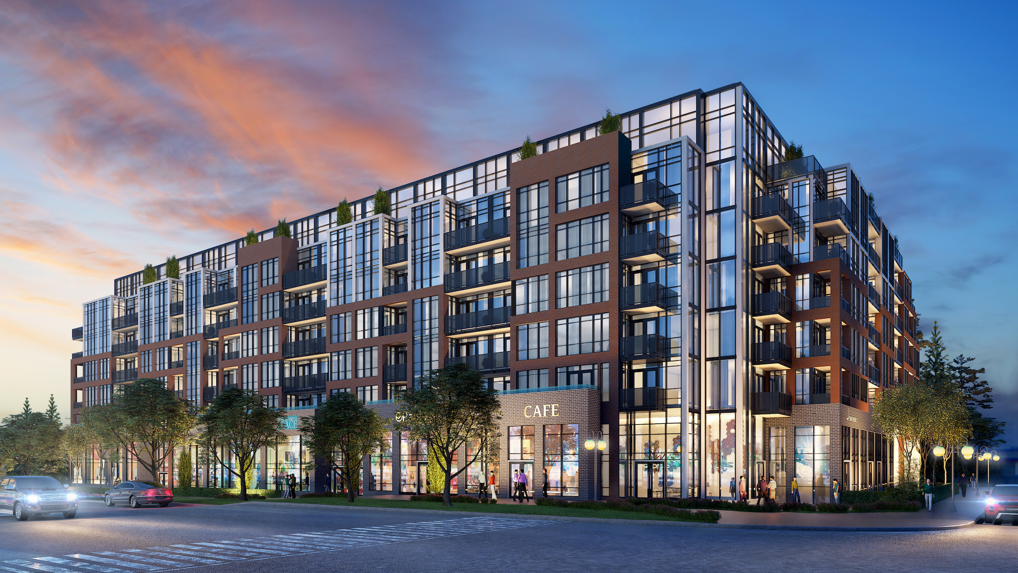 Rendering of South District Condo exterior at night