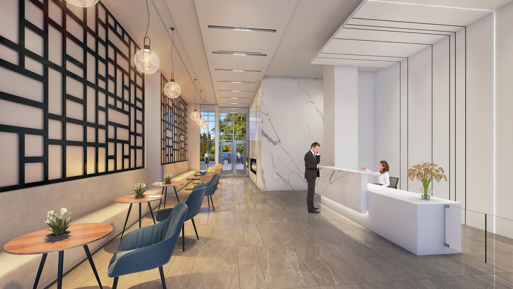 Rendering of South District Condo lobby with concierge.