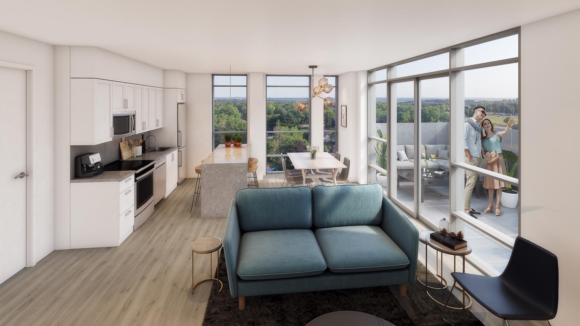Rendering of South District Condo suite interior.
