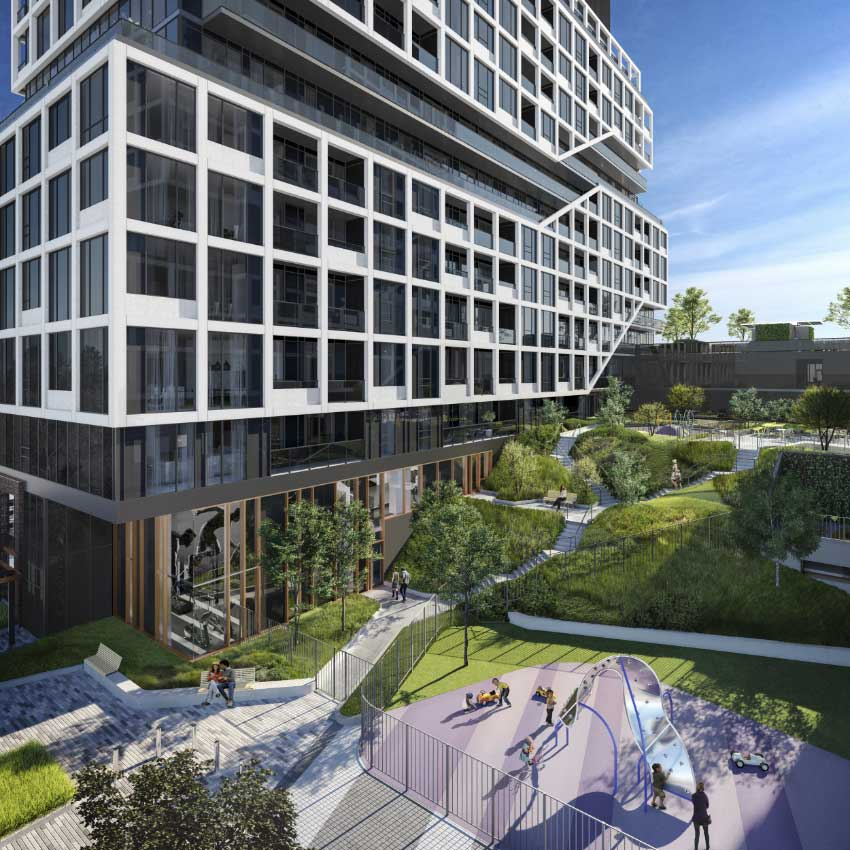 endering of MRKT Alexandra Park Condos building exterior and playground.