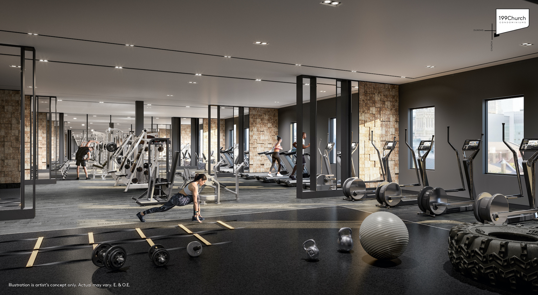 Rendering of 199 Church Condos fitness centre.
