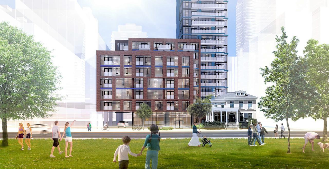 Exterior rendering of 308 Jarvis Condos lower facade.