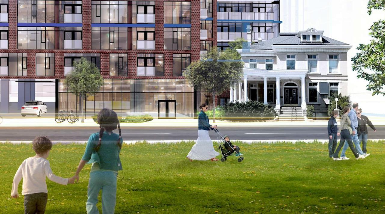 Exterior rendering of 308 Jarvis Condos surrounding greenery.