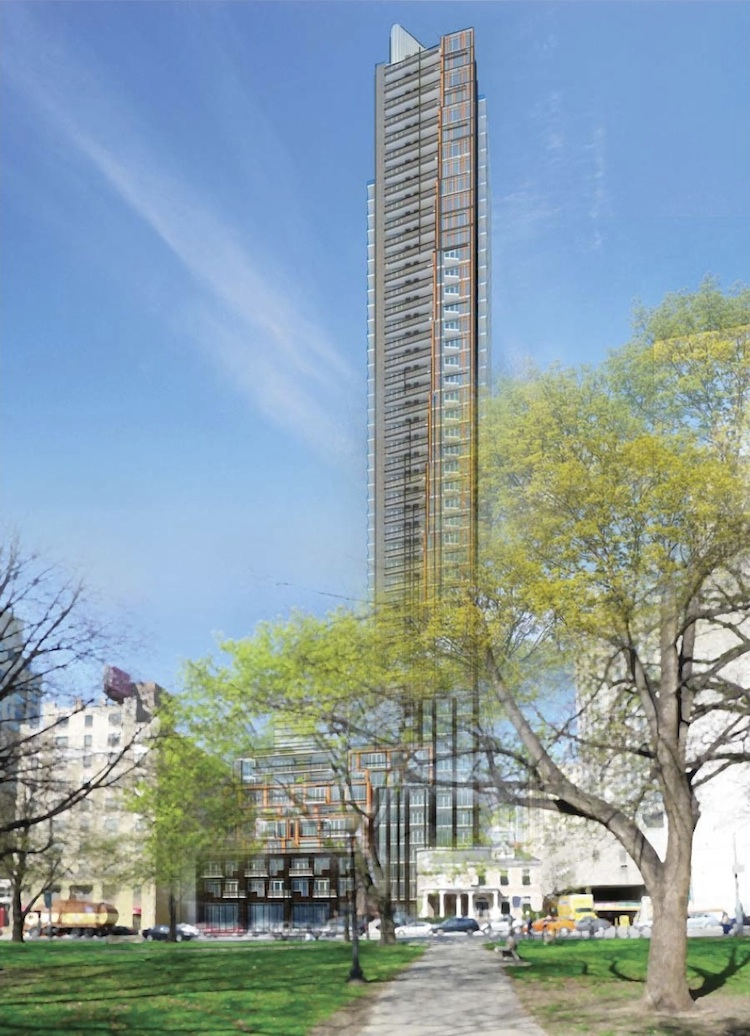 Exterior rendering of 308 Jarvis Condos full building with parkette.