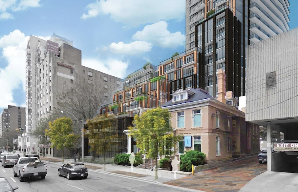 Exterior rendering of 308 Jarvis Condos streeview.