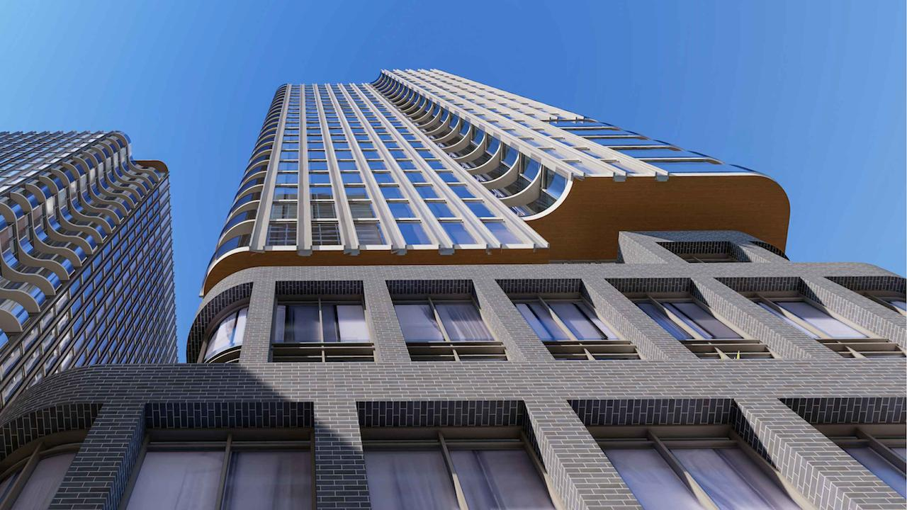 Exterior rendering of 88 Queen Condos from street-level looking up.