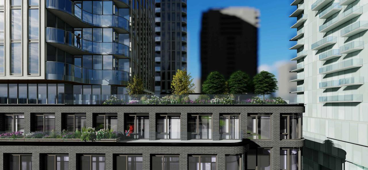 Exterior rendering of 88 Queen Condos terrace with lush greenery.