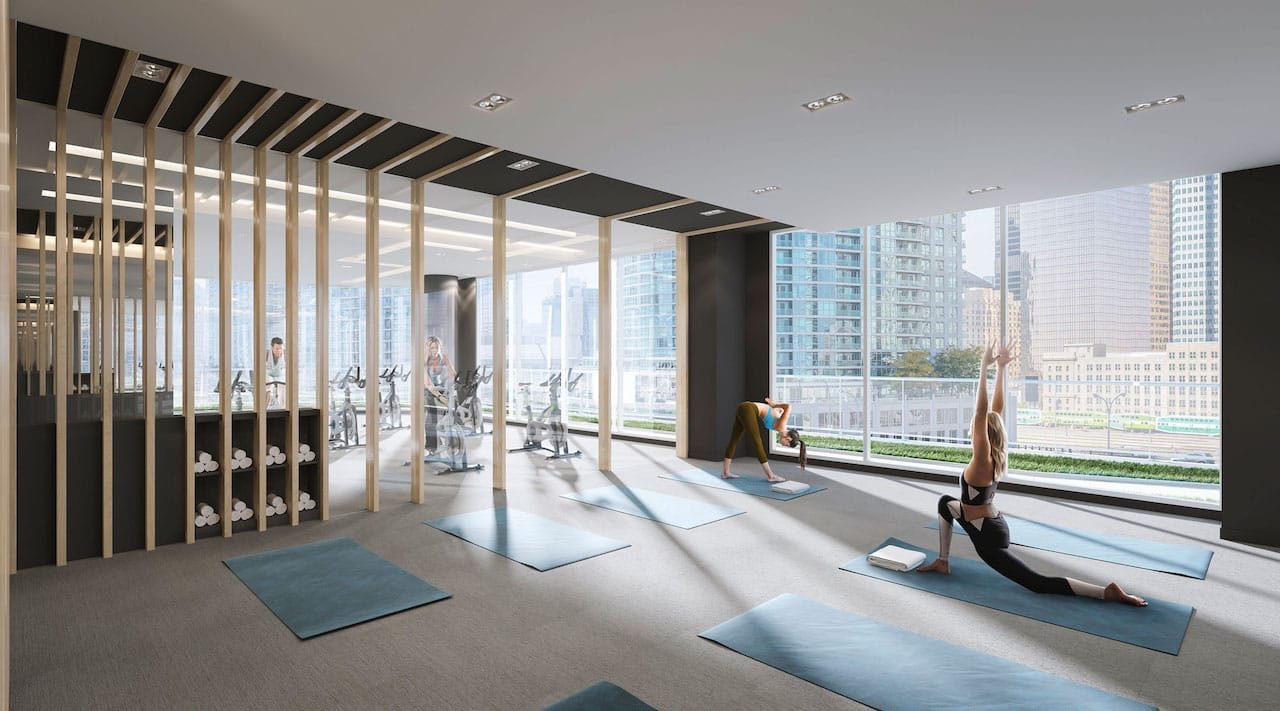 Rendering of One Yonge SkyTower fitness centre with yoga.