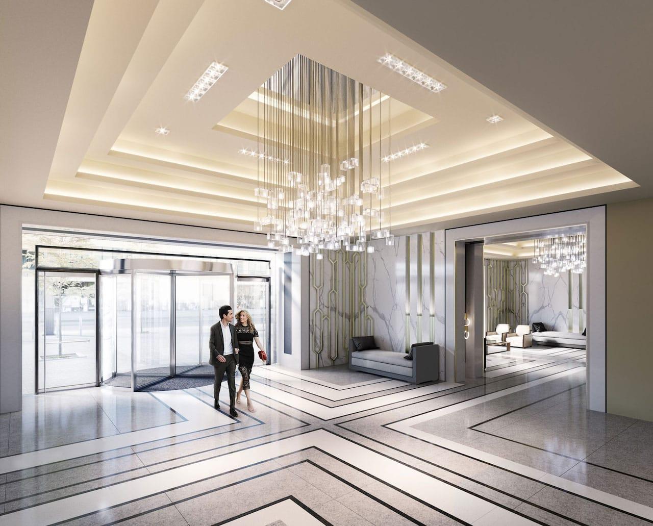 Rendering of One Yonge SkyTower grand lobby.