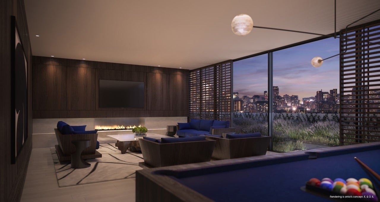 Rendering of Canary House Condos entertainment room