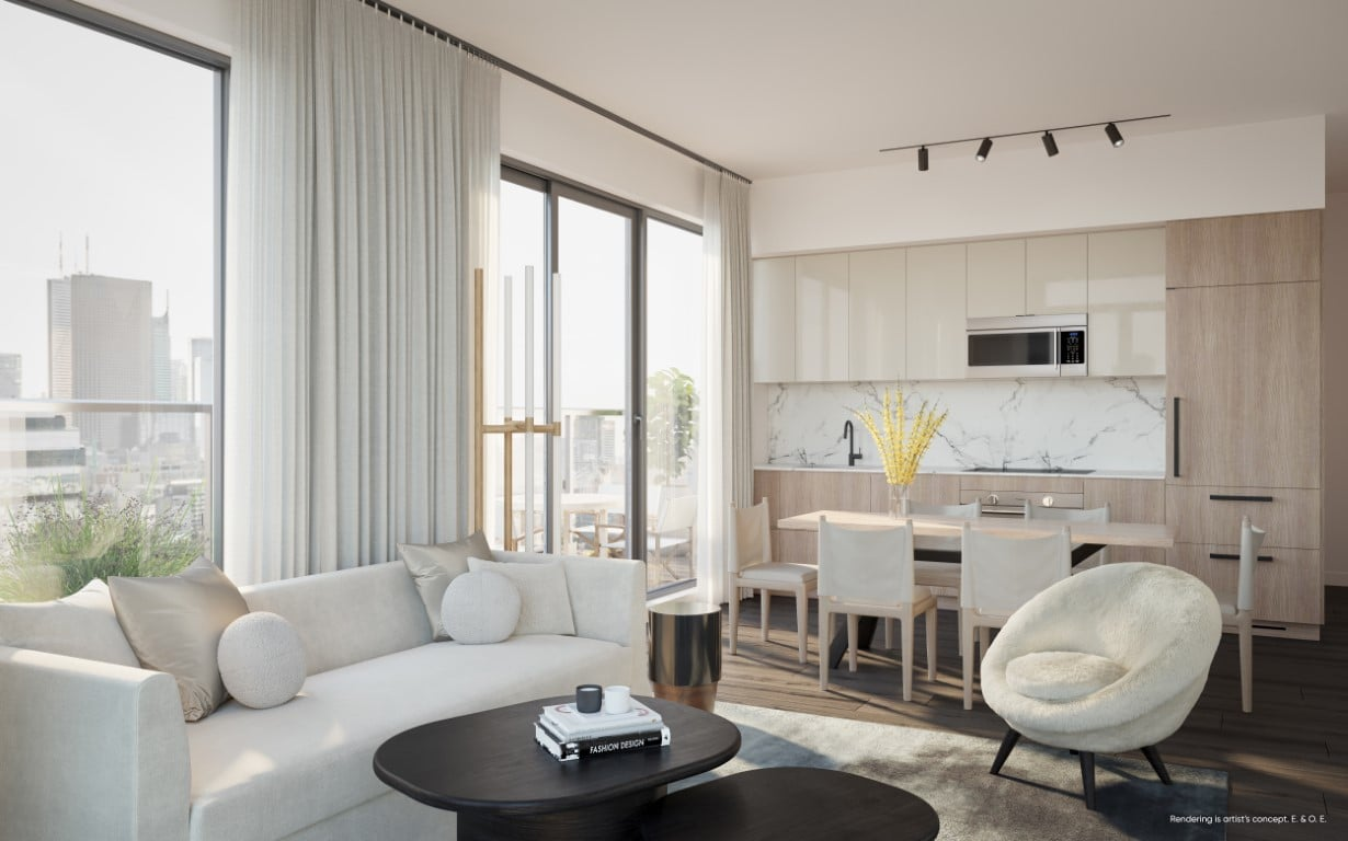 Rendering of Canary House Condos suite interior dining area
