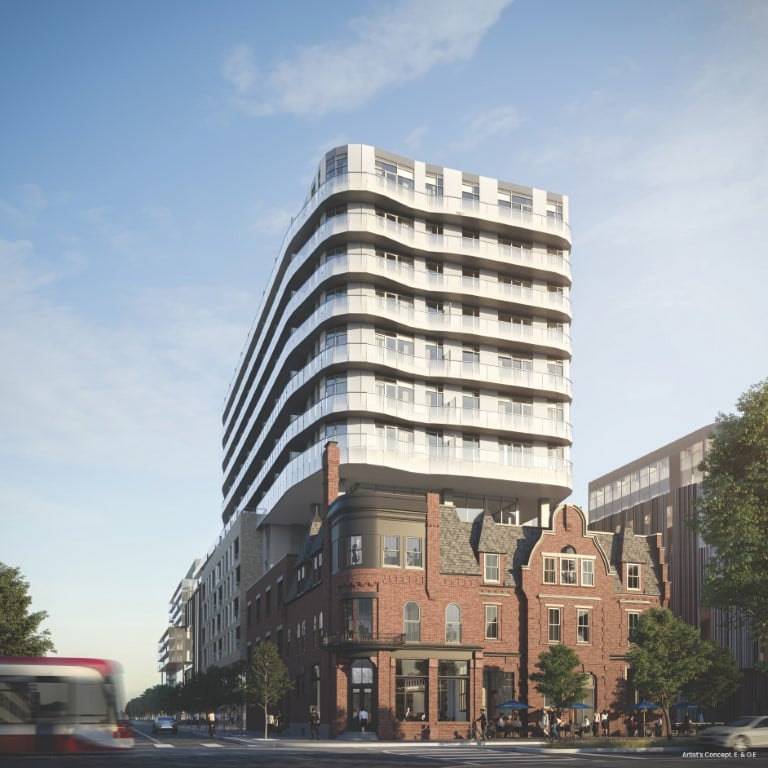 Rendering of Canary House Condos exterior restaurant view