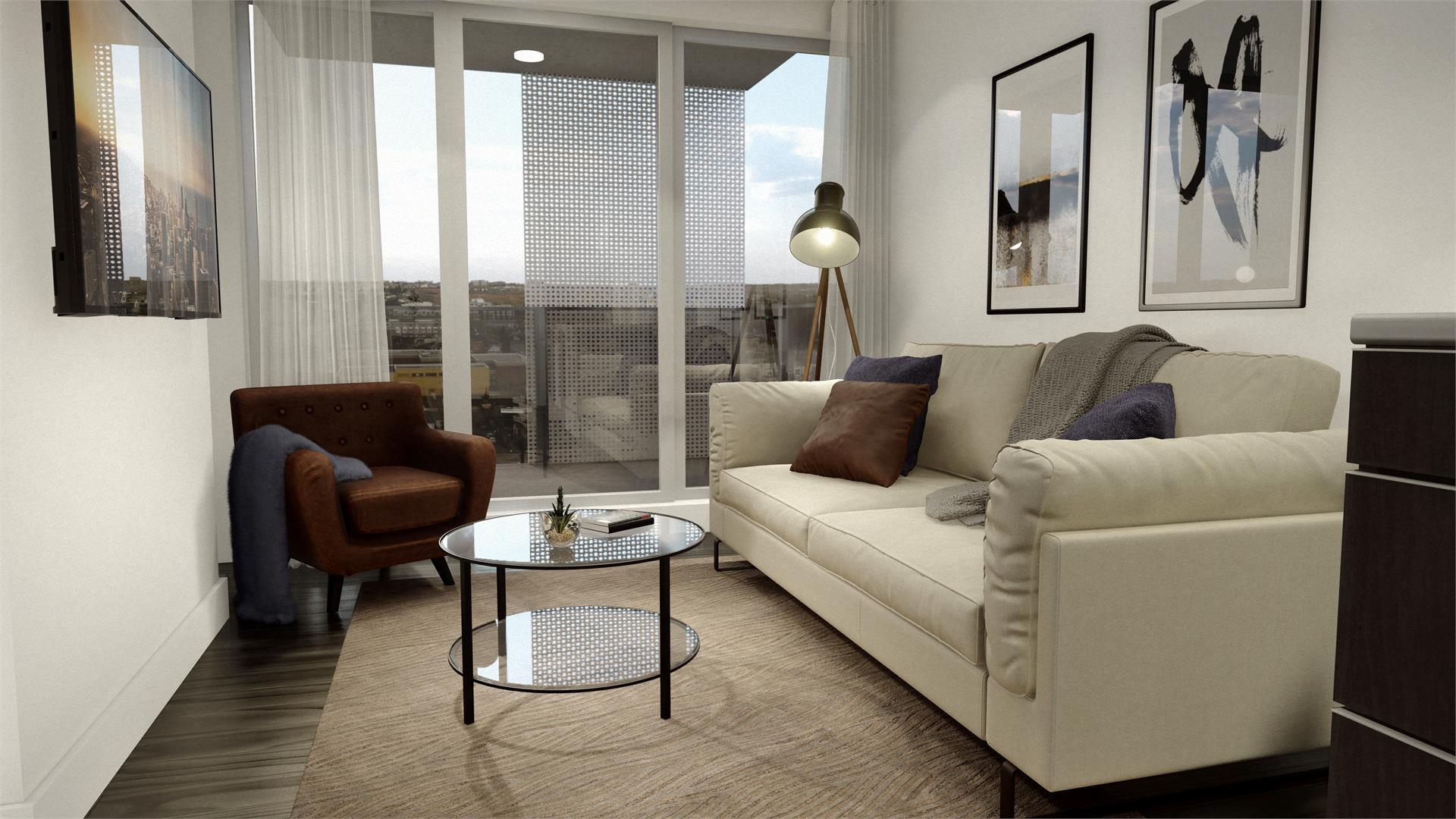 Rendering of Era Condos suite interior living room with a view.