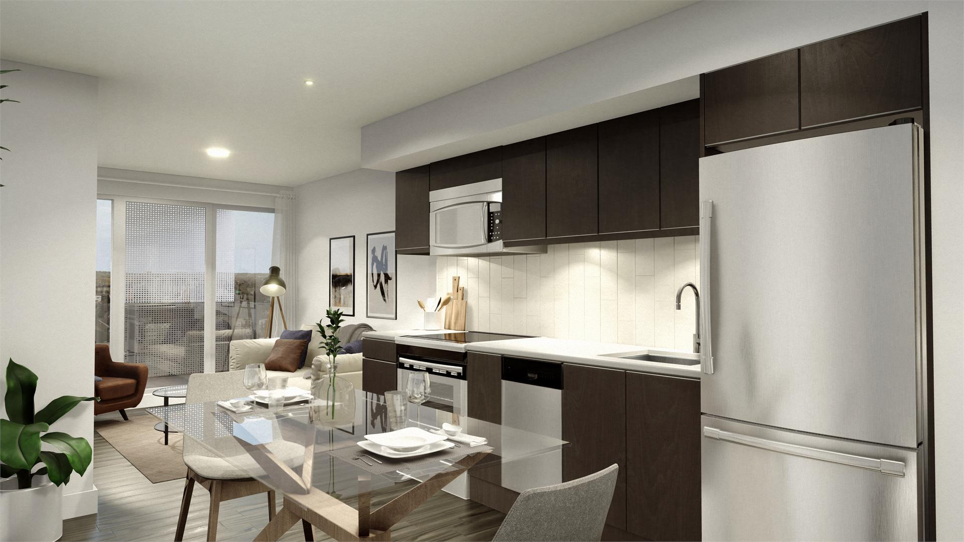 Rendering of Era Condos suite interior kitchen and living room area.