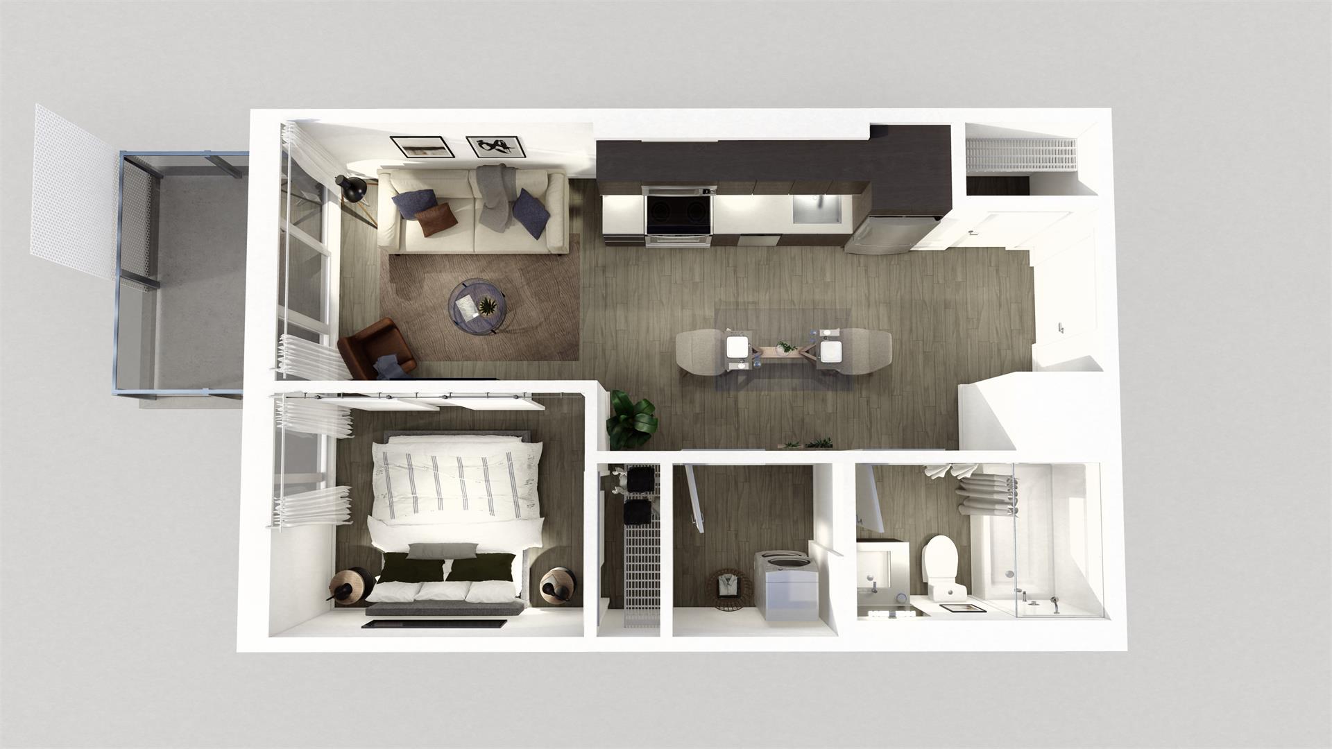 Rendering of Era Condos suite interior 1 bedroom dollhouse.