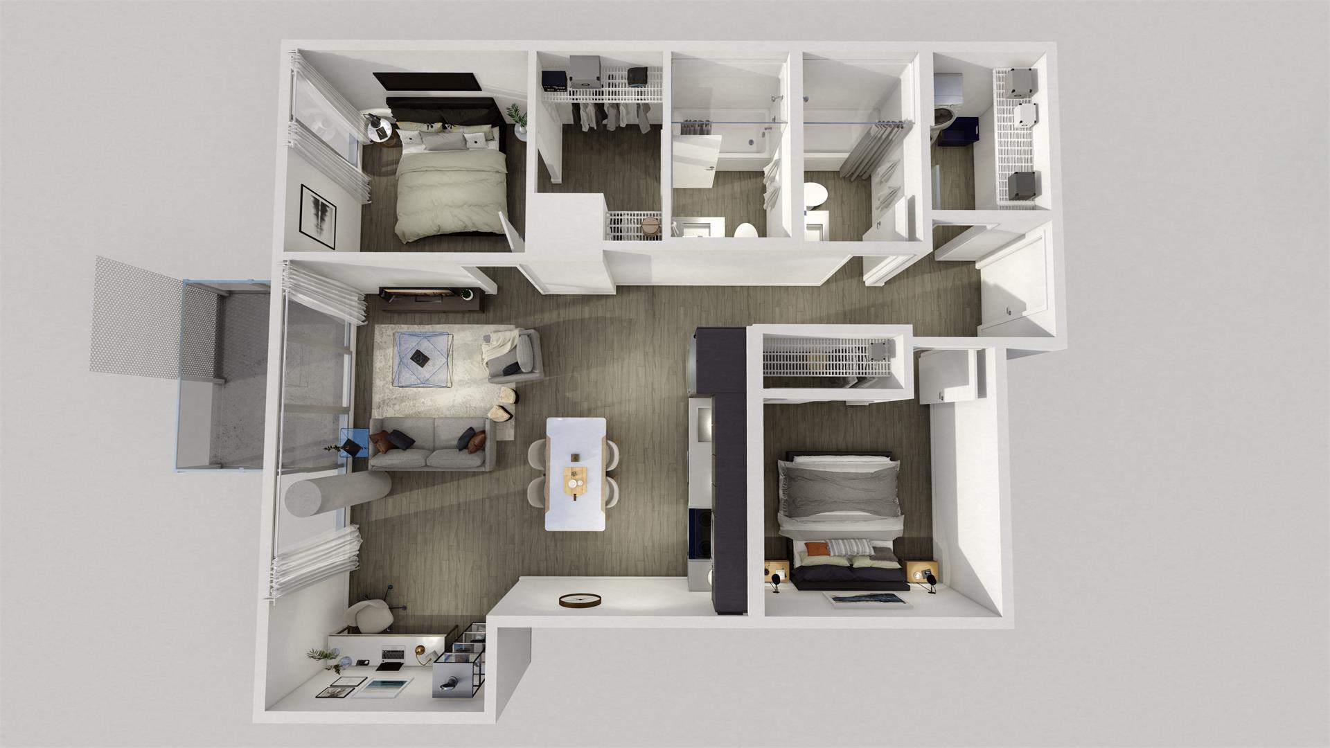 Rendering of Era Condos suite interior 2 bedroom dollhouse.