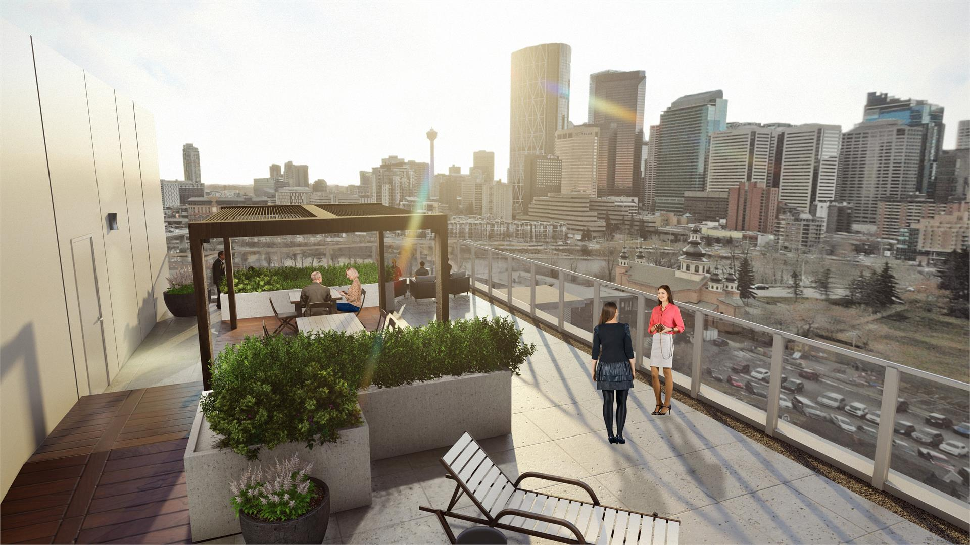 Rendering of Era Condos rooftop terrace with seating and lounge chairs.