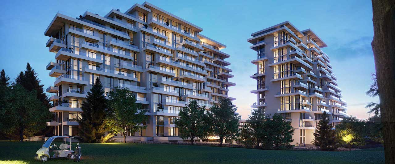 Rendering of Royal Bayview Condos exterior at night.