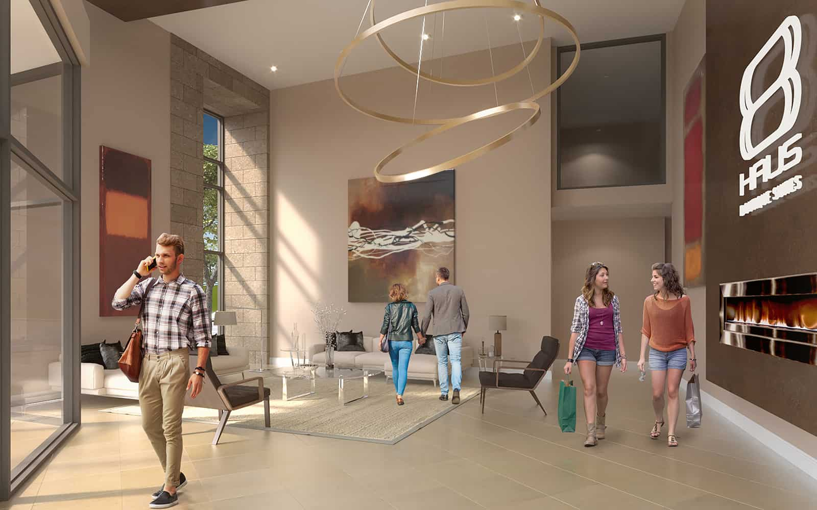 Interior rendering of 8 Haus Boutique condos lobby entrance with seating.