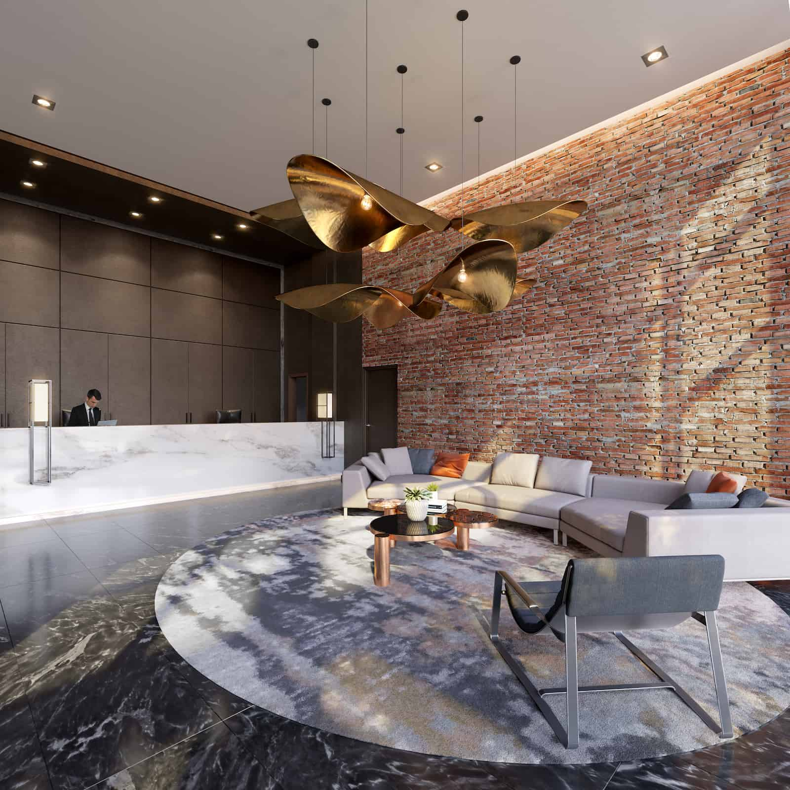 Interior rendering of 8 Haus Boutique condos lobby with concierge desk.