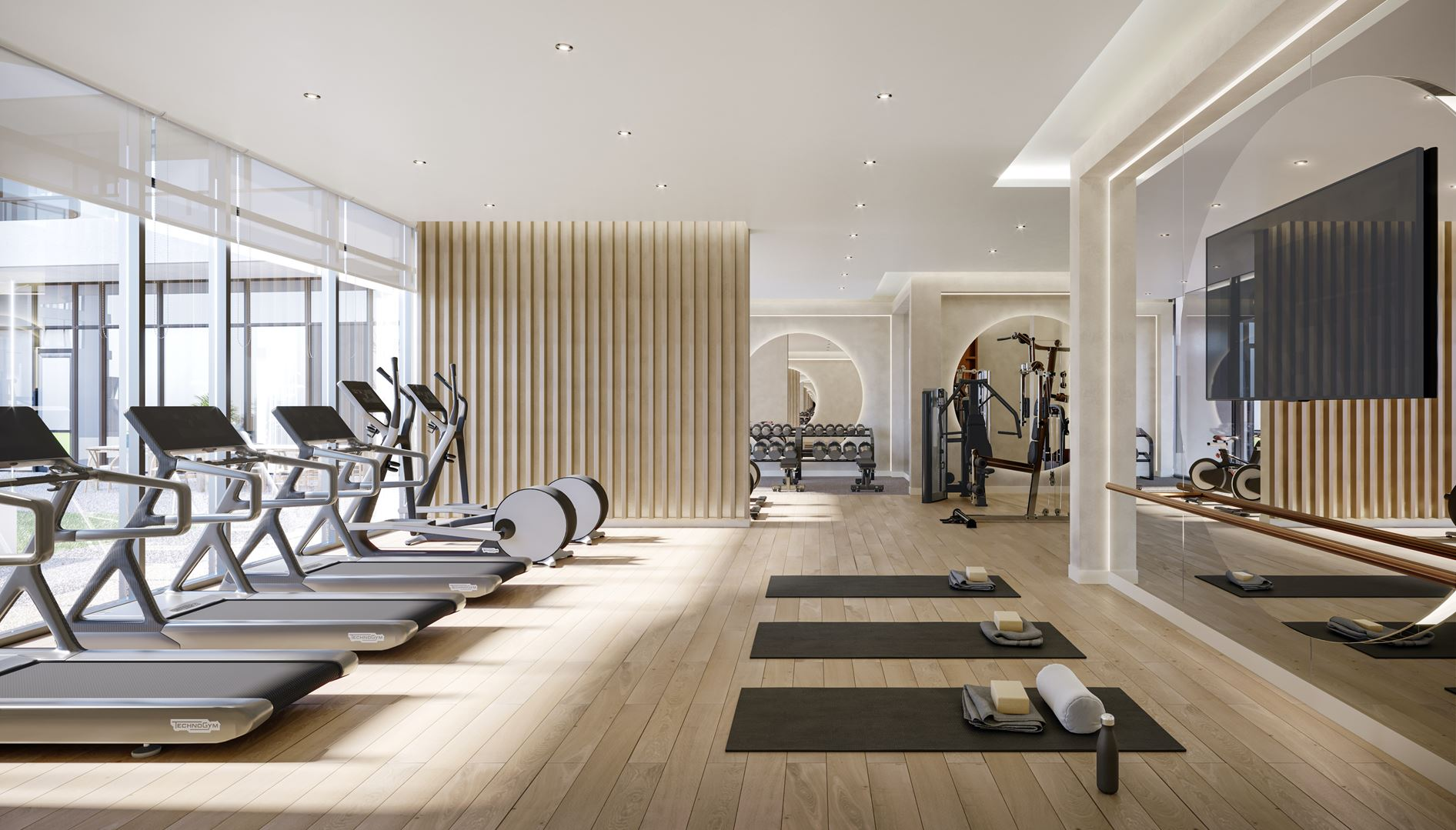 Rendering of 8188 Yonge Condos fitness studio.