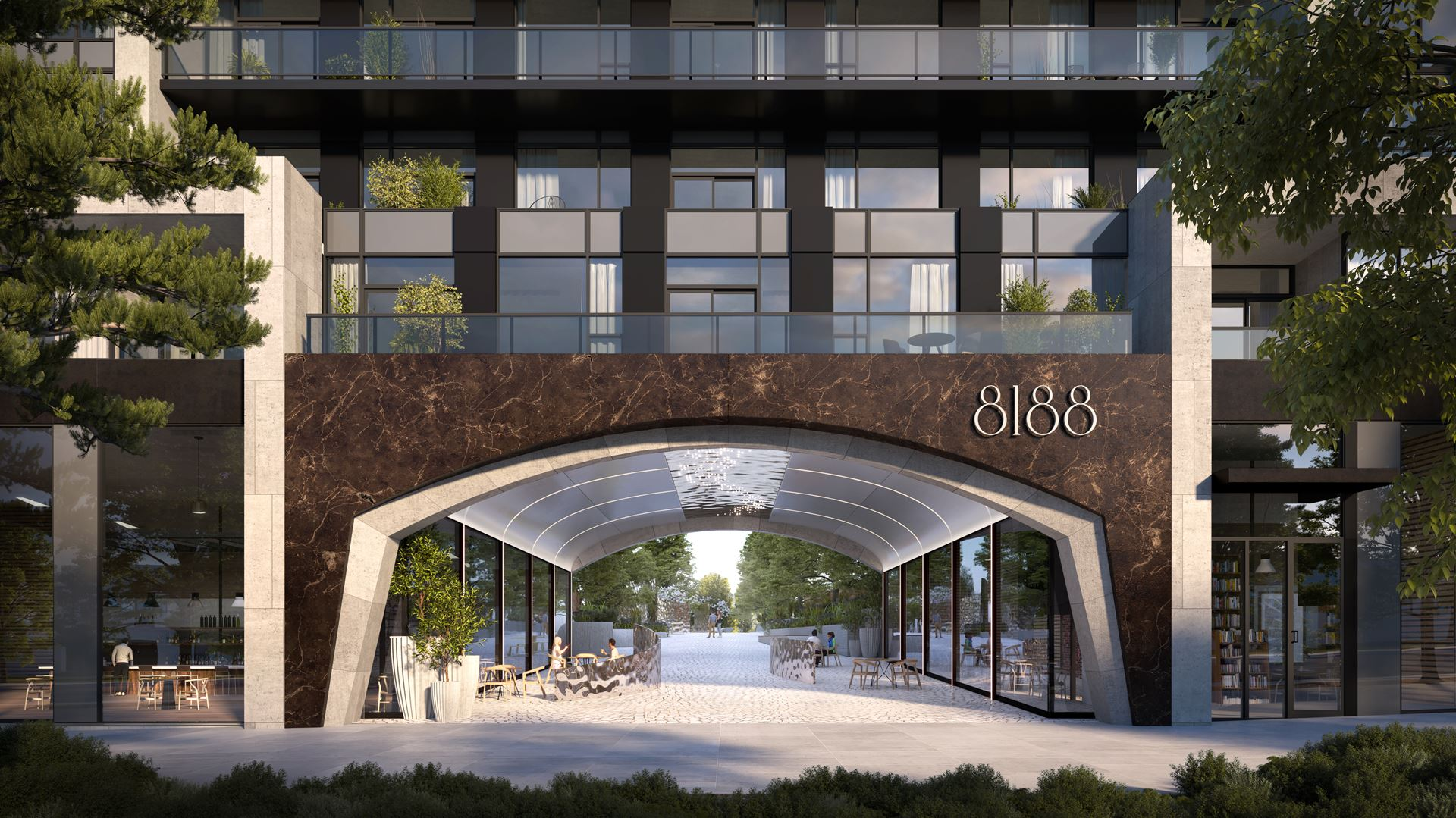 Rendering of 8188 Yonge Condos pedestrian walkway and condo entrance.